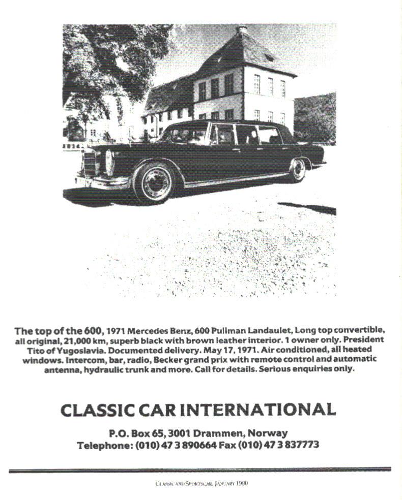Prodajni oglas za Mercedes-Benz 600, br. šasije 001854